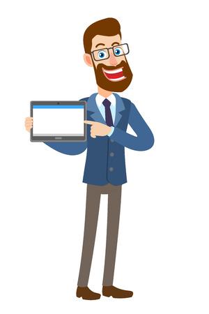 Hipsterzakenman die zijn vinger richten op tabletpc. Volledige lengte portret van Cartoon Hipster zakenman karakter. Vectorillustratie in een vlakke stijl.