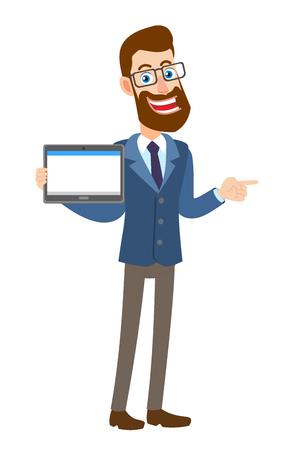 Hipster Zakenman die tabletpc houdt en zijn vinger richt op het richten van iets naast van hem. Volledige lengte portret van Cartoon Hipster zakenman karakter. Vectorillustratie in een vlakke stijl.