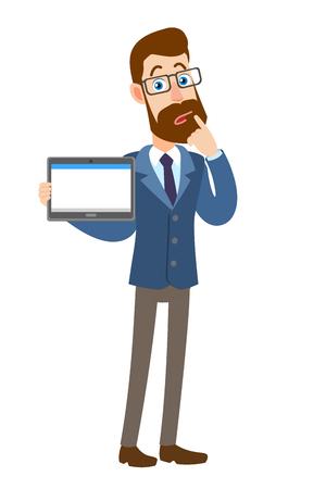 Hipster zakenman tablet pc houden en permanent met zijn vinger aan zijn lippen. Volledige lengte portret van Cartoon Hipster zakenman karakter. Vectorillustratie in een vlakke stijl. Stock Illustratie