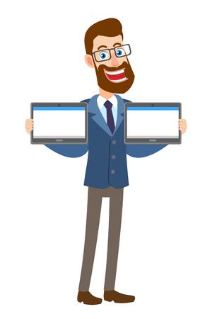 Hipsterzakenman die twee tablettenpc houden. Volledige lengte portret van Cartoon Hipster zakenman karakter. Vectorillustratie in een vlakke stijl.
