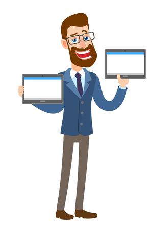 Hipster zakenman houden van tabletten pc. Volledige lengte portret van Cartoon Hipster zakenman karakter. Vectorillustratie in een vlakke stijl.