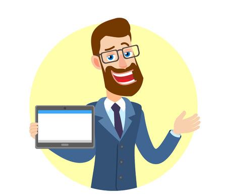 Hipster zakenman tablet pc houden en gebaren. Portret van Cartoon Hipster zakenman karakter. Vectorillustratie in een vlakke stijl.