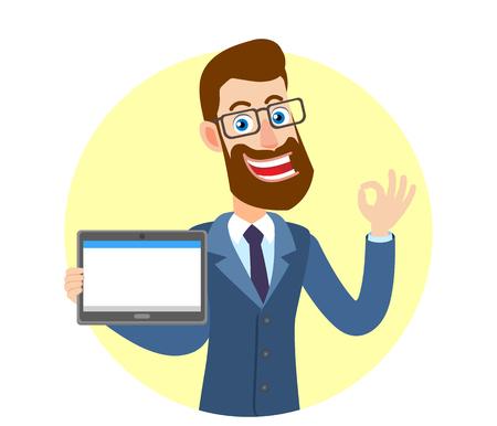Hipster zakenman tablet pc houden en een oke handteken tonen. Portret van Cartoon Hipster zakenman karakter. Vectorillustratie in een vlakke stijl. Stock Illustratie