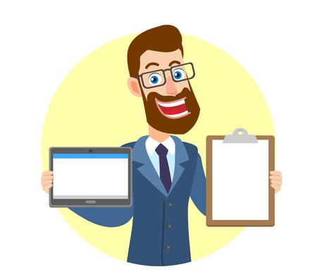 Hipster zakenman tablet pc houden en Klembord weergegeven. Portret van Cartoon Hipster zakenman karakter. Vectorillustratie in een vlakke stijl.