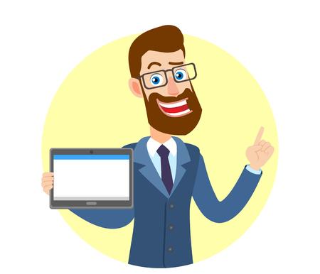 Hipster Zakenman die tabletpc en het richten houdt; up, Portret van Cartoon Hipster zakenman karakter. Vectorillustratie in een vlakke stijl.