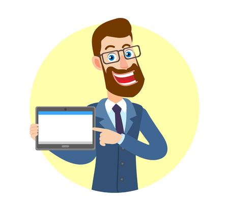 Hipsterzakenman die zijn vinger richten op tabletpc. Portret van stripfiguur Hipster zakenman. Vector illustratie in een vlakke stijl.