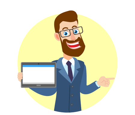 Hipster Zakenman die tabletpc houdt en zijn vinger richt op het richten van iets naast van hem. Portret van Cartoon Hipster zakenman karakter. Vectorillustratie in een vlakke stijl. Stock Illustratie