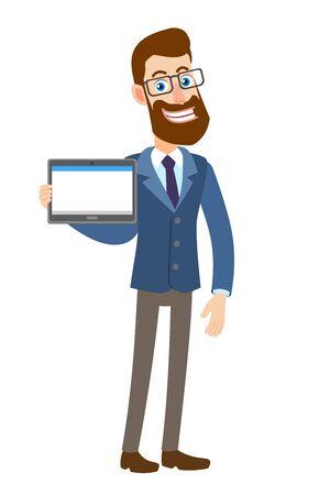 Hipster zakenman bedrijf tablet pc.