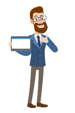 Hipster Zakenman die tablet-pc en tonen duim omhoog teken.