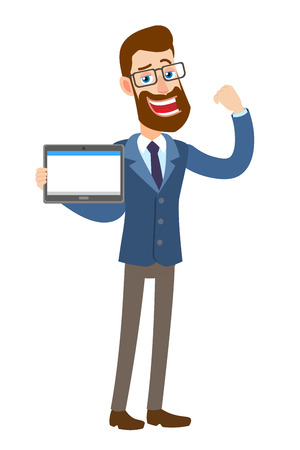 Hipster Businessman holding tablet PC and showing biceps. Illustration