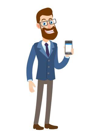 Hipster Zakenman die mobiele telefoon houdt. Stock Illustratie