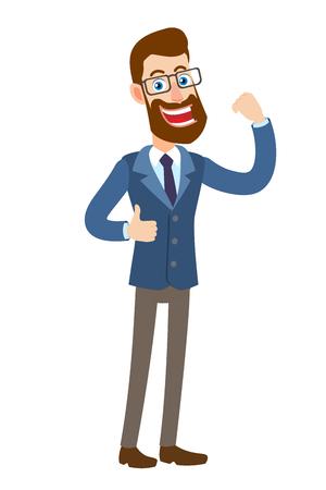 Hipster Zakenman die duim toont ondertekent omhoog en buigt zijn bicepsen.