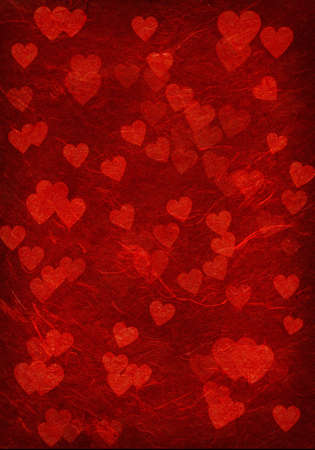Bright red background with hearts.