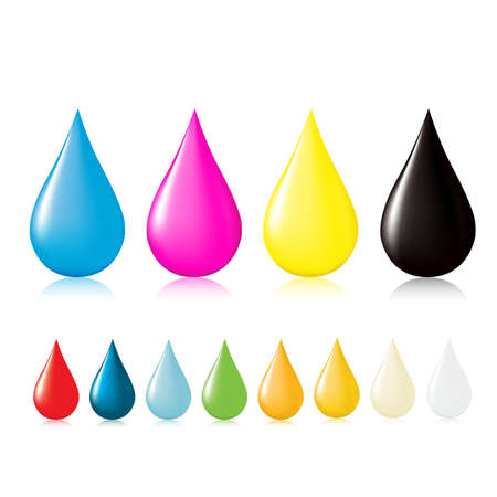 Multicolored drops with reflection. Vector illustration. Vector
