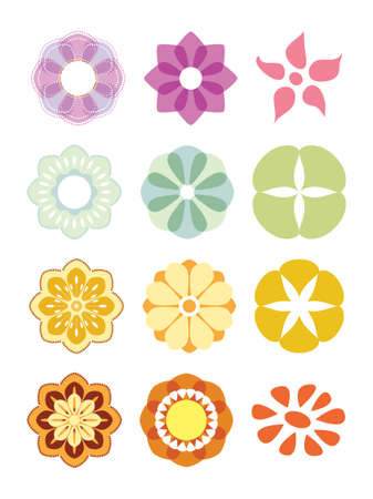 Flower set. Colorful elements for design. Vector illustration.