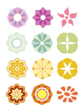 Flower set. Colorful elements for design. Vector illustration.
