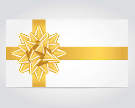 Gift card with gold ribbon. Vector illustration.