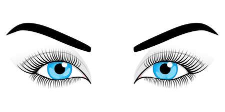 eyebrow makeup: Donna occhi blu su uno sfondo bianco. Illustrazione vettoriale. Vettoriali