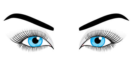 Womens blue eyes on a white background. Vector illustration.
