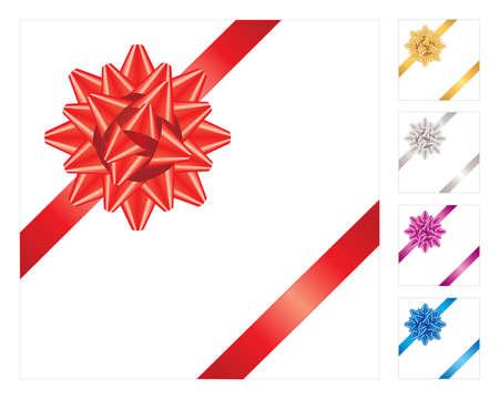 Decorative realistic vector ribbon. Five colors. Vector illustration. Illustration