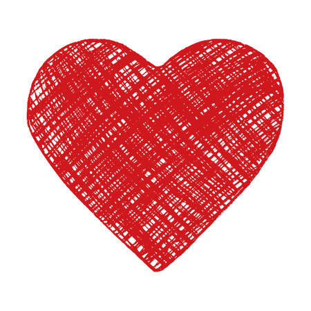 Hand drawing red heart. Vector image.