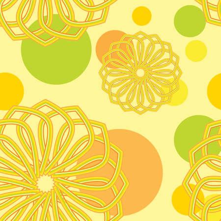 Seamless orange flower vector pattern.