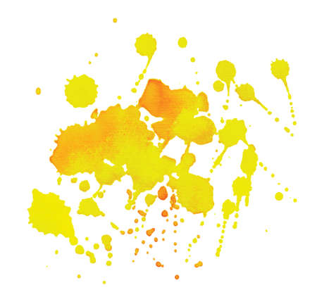 ink stain: Handwork yellow paint drops background