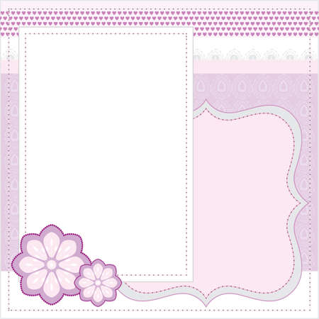 Vector pink frame for album or scrapbook