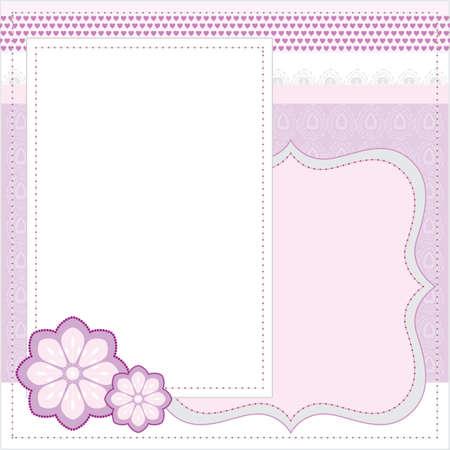 Vector pink frame for album or scrapbook