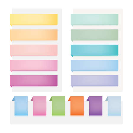 tabs: web buttons. Set of multicolored elements Illustration