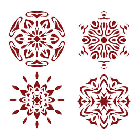Abstract red snowflake background.  Christmas decoration.