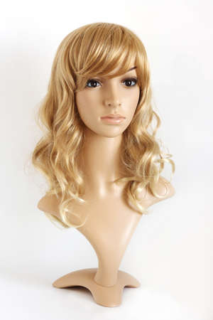 uniform curls: Realistic female mannequin. The head of a beautiful blonde. Stock Photo