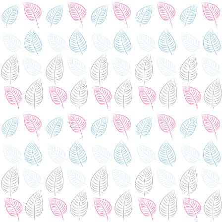Abstract seamless pattern with leaves  Pastel blue, pink, gray paper  Summer  background