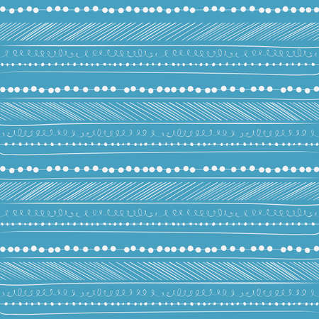 Abstract seamless pattern  Paper background with Hand drawing elements  Blue and white  Illustration