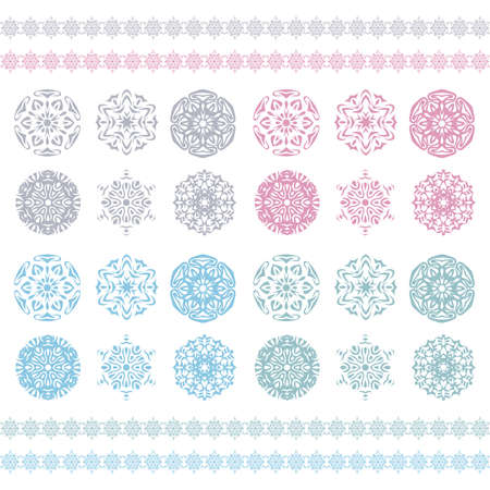 Christmas background, snowflakes pattern, Snow flake silhouette  Pastel ornament, snowflakes border, holiday pattern  Winter symbol  Illustration