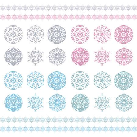 Christmas background, snowflakes pattern, Snow flake silhouette  Pastel ornament, snowflakes border, holiday pattern  Winter symbol  Illustration