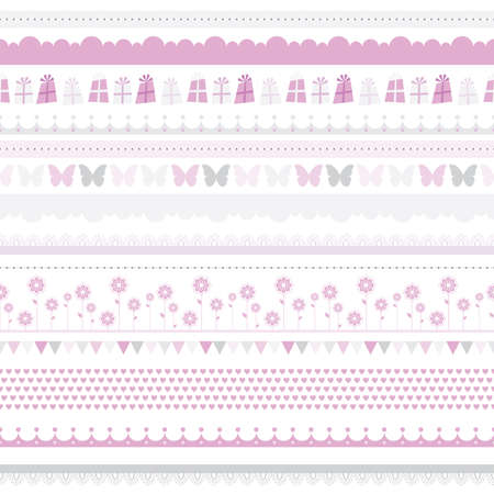 baby border: Cute baby seamless border  Child birthday pattern  girl background  Scrapbooking Kids card, baby party Clipart  illustration with butterfly, flowers, hearts