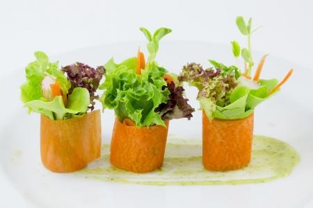 Fingerfood Karottensalat Rolle