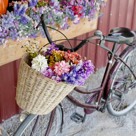 city people: brown vintage bicycle with flowers on thered wall
