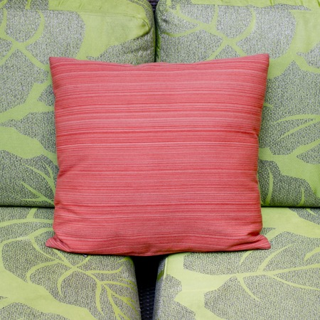 contrast colors of a modern living room with green sofa and red cushion photo