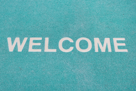 Blue welcome carpet, welcome doormat carpet photo