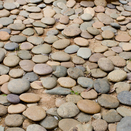 Close up gravel stone pathway in the park  photo