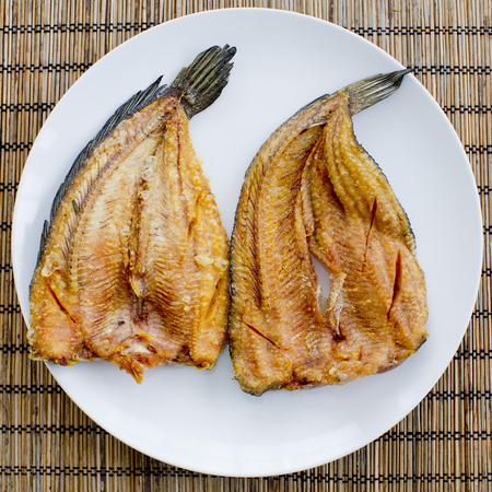 common snakehead: fried fish Common snakehead