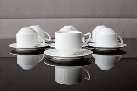 house ware: Many rows of pure white cup and saucer