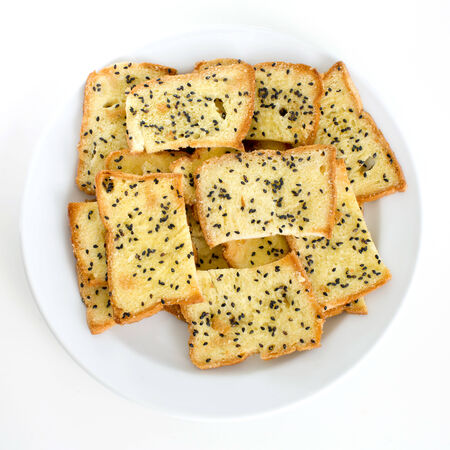 Garlic and herb bread slices photo