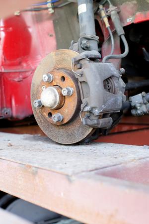 Closeup photo of car disc brakes servicing photo