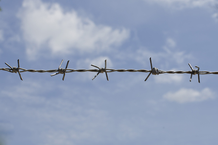 Barb wire fence with blue sky photo