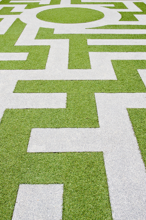 impasse: Detail of a grass labyrinth Stock Photo