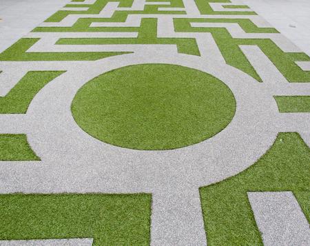 Detail of a grass labyrinth photo