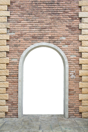 old brick wall with opened door Stock Photo